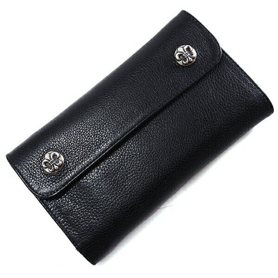 CHROME HEARTS(クロムハーツ) ウェーブ・フレアボタン・ブラック・ヘビーレザー Wave Wallet Black Heavy Leather w/BS Fleur Buttons l...