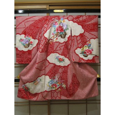 女児用産着 絞り刺繍 束ね熨斗文と花車 赤【送料無料】【女児用】【産着】【smtb-k】【ky】