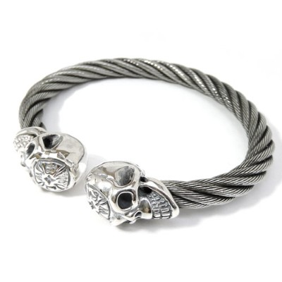【BWL】Bill Wall Leather ビルウォールレザー【送料無料】【あす楽】/WIRE BANGLE W/ VINTAGE SKULL MALIBU CROSS ON FOR HEAD...