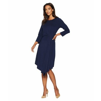 モッドドック レディース ワンピース トップス Cotton Modal Spandex Jersey 3/4 Sleeve Side Tuck Dress True Navy