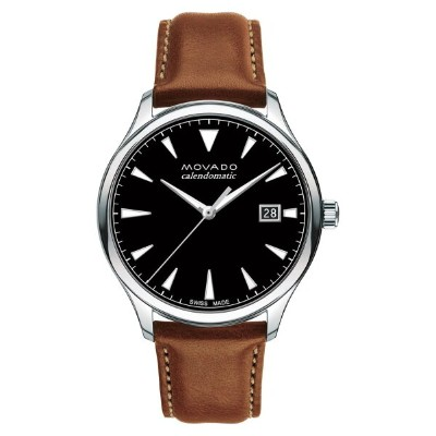 モバド レディース 腕時計 アクセサリー Movado Heritage Leather Strap Watch, 40mm Cognac/ Black/ Silver