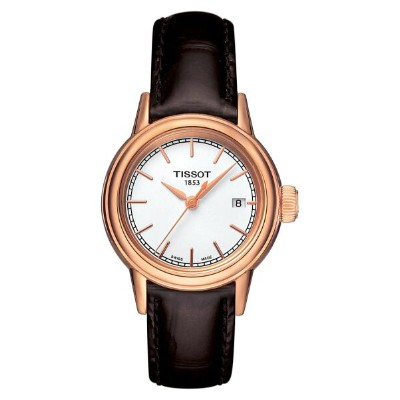 ティソット レディース 腕時計 アクセサリー Tissot Carson Leather Strap Watch, 28mm Brown/ White/ Rose Gold