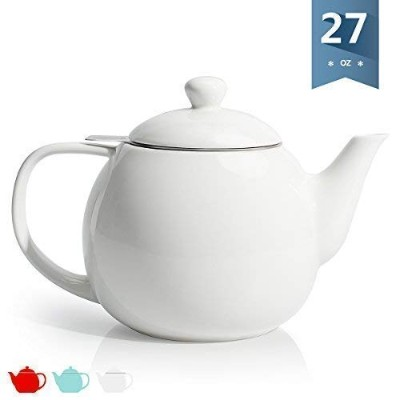 SWEESE磁器ティーポットTea Pot withステンレススチールInfuser–28オンス ホワイト Porcelain teapot-stainless-S-white