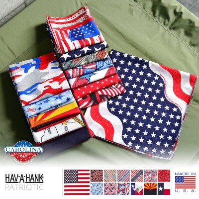 【15%OFFセール開催中】HAV-A-HANK ハバハンク MADE IN U.S.A. PATRIOTIC バンダナ 13色《WIP》ミリタリー 軍物 メンズ 男性 ギフト プレゼント