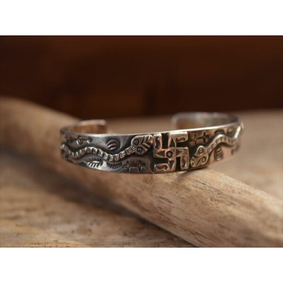 Vintage Indian Jewelry スネーク & 卍(Whirling Log) インゴット バングル (Fred Harvey era)