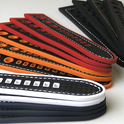 Rubber Cabon Hole Style / 20mm 22mm 24mm / Black White Red Navy Orange Stitching and Stainless...