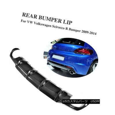 エアロパーツ Carbon Fiber Rear Spoiler Lip Diffuser Fit for Volkswagen VW Scirocco R 09-14 フォルクスワーゲンVW...