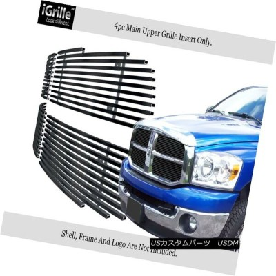 USグリル For 2006-2008 Dodge Ram Black Stainless Steel Billet Grille Grill Insert 2006-2008ダッジラムブラックステン...