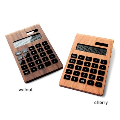 ■12桁表示の木製ソーラー電卓「Solar Battery Calculator Desk Type」