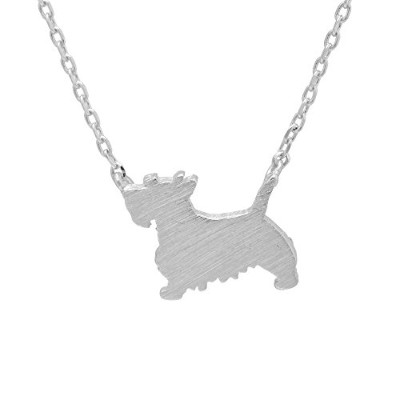 Spinningdaisy手作りBrushed Metal Cut Out Schnauzerネックレス