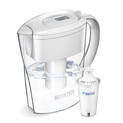 Brita 6 Cup Space Saver BPA Free Water Pitcher with 1 Filter, White by Brita