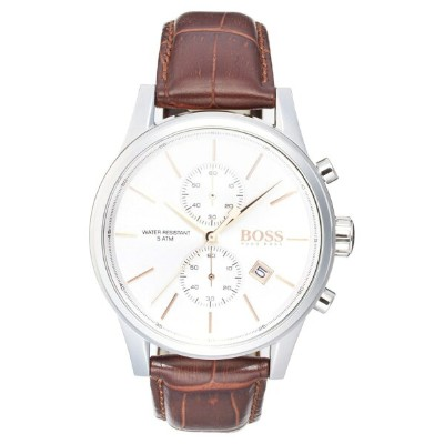 ボス レディース 腕時計 アクセサリー BOSS 'Jet Sport' Chronograph Leather Strap Watch, 41mm White/ Brown