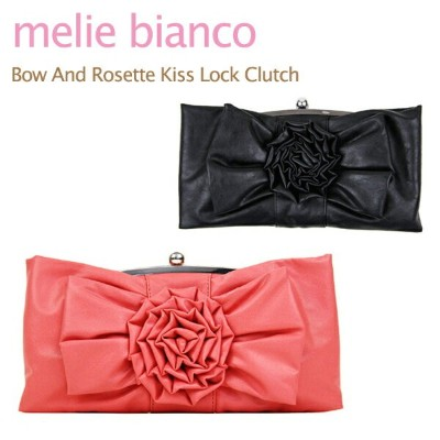 melie bianco Bow And Rosette Kiss Lock Clutch メリービアンコ チェーン ショルダーバッグ クラッチバッグ[CC]