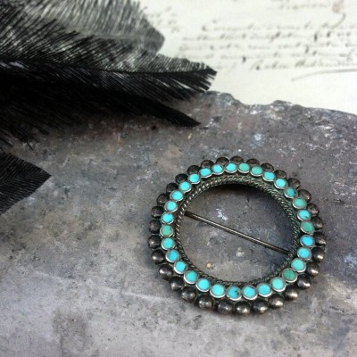 【SALE!!12/15(日)17時まで】Vintage Silver×Turquoise Brooch by Frank Dishta(フランク ディシュタ ヴィンテージ シルバー×ターコイズ...