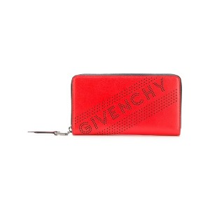 Givenchy perforated logo wallet - レッド