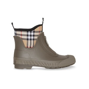 Burberry Vintage Check Neoprene and Rubber Rain Boots - グリーン