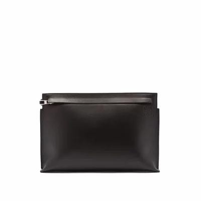 ロエベ Loewe ポーチ T Pouch logo-stamped leather bag Black
