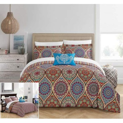 (Queen, Red) - Chic Home 4 Piece Shulamit Reversible Boho-inspired print and contemporary striped...