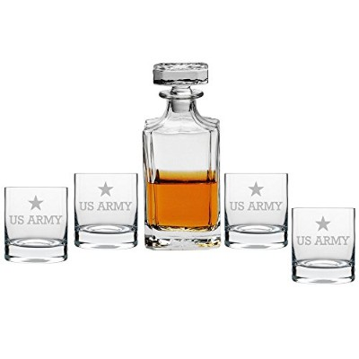 Abbyスミス–US Army Decanter with Engraved Rocks、メガネのセット5