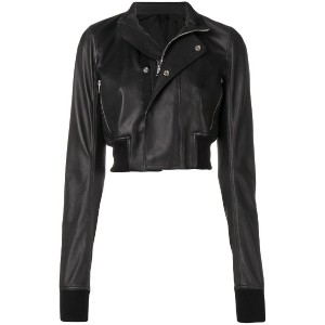 Rick Owens cropped leather jacket - ブラック