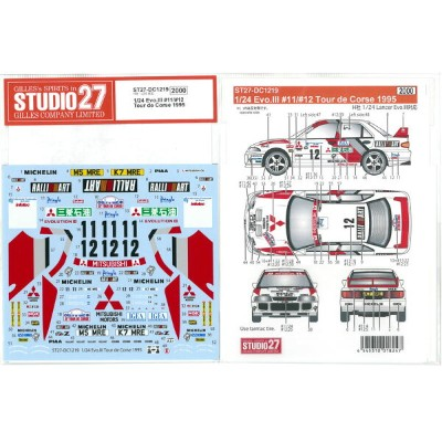 1/24 Lancer Evo.III #11/#12 Tour de Corse 1995(for H社1/24)【スタジオ27デカール DC1219】