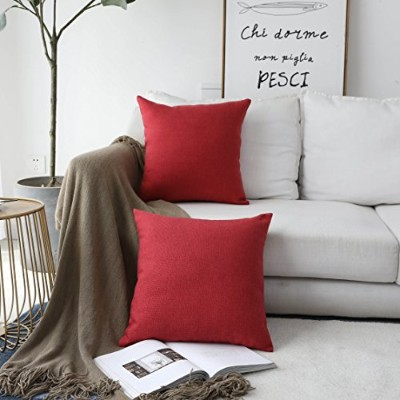 (46cm x 46cm, 2 Pack, Burgundy) - HOME BRILLIANT Linen Textured Decorative Pillow Covers Cushion...
