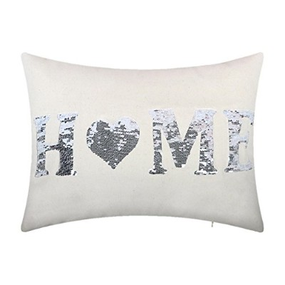JWHリバーシブルスパンコールホームLetters Pillow Covers 14 x 20 Inch ホワイト JW-SequinsHome-WhiteSilver