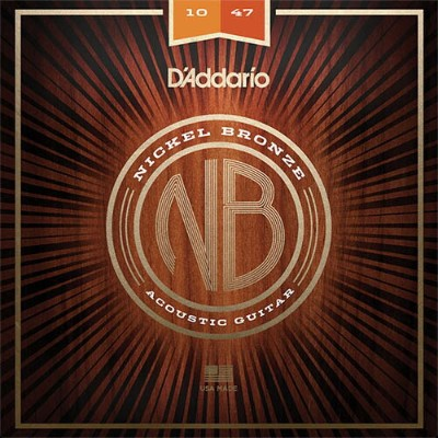 D'Addario Nickel Bronze Wound Acoustic Guitar Strings [NB1047/Extra Light, 10-47]