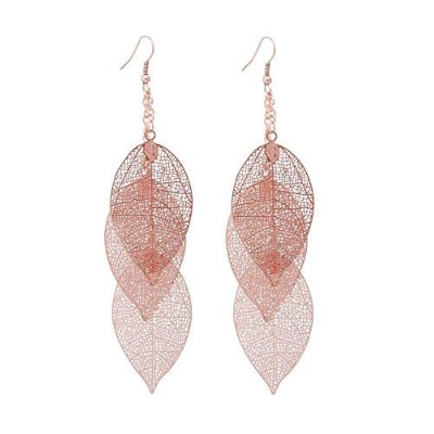 Filigree Copper Leaf Earrings Fashion Style Leaf Shape Dangle Earring Long Teardrop Dangle Drop...