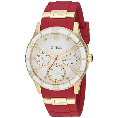 ゲス GUESS 腕時計 レディース GUESS Gold-Tone + Iconic Red Stain Resistant Silicone Watch with Day, Date + 24...