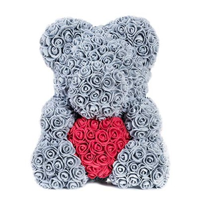 WLGREATSP Teddy Bear - PE Soft & Cuddly Bear, 16X10X10 Inches, Grey/White/Pink/Red For Birthday,...