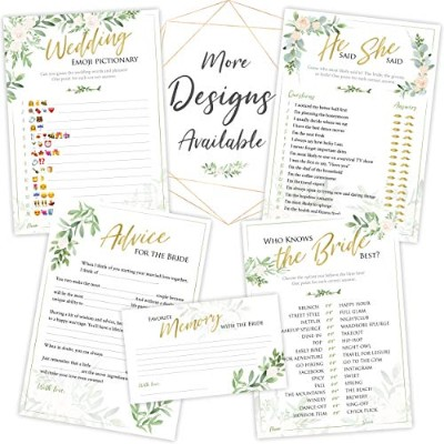 (Rustic Greenery) - Bridal Shower Games Set of 5 Games 50 Sheets Each Floral Rustic Greenery Themed...