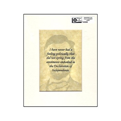 """Abraham Lincoln引用符Ready to be framed 5–1/ 4"""" x 6–3/ 4"""" """" I Have Never Has a Feeling..."""