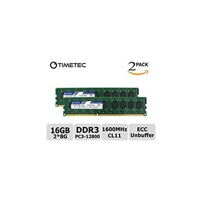 Timetec 8 GB ddr3l 1600 MHzデュアルランク1.35 V pc3 – 12800 Unbuffered Ecc cl11 2rx8 240ピンUDIMMサーバーメモリRamモジ...