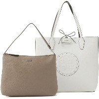 【SALE 50%OFF】ゲス GUESS BOBBI LARGE INSIDE OUT TOTE (WHITE / TAUPE) レディース