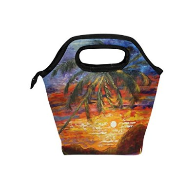 JSTeL Palm Trees Sunsetランチバッグトートバッグハンドバッグ弁当箱食品コンテナグルメ弁当CooleトートCooler Warmポーチfor旅行ピクニック学校Office