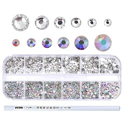1Box AB Color Nail Rhinestone with Dotting Pen Clear Flat Bottom Multi-size Crystals Manicure Nail...