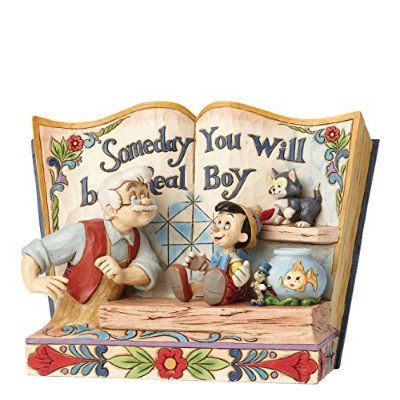 Disney Traditions Someday You Will Be A Real Boy Storybook Pinocchio Figurine, Multi-Colour