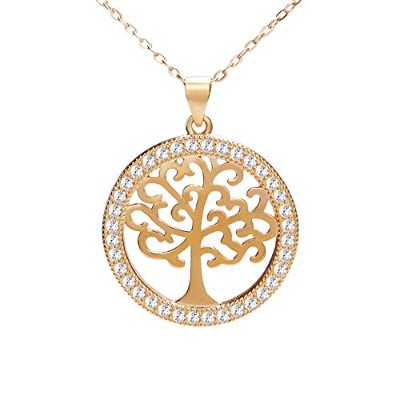 C-Weiwei Family Tree of Life Circle Pendant Necklace 金樹家系図ライフ ペンダント ネックレス アクセサリージュエリー 生命の木のネックレス 金色