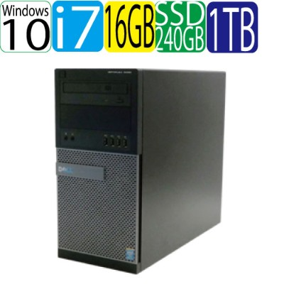DELL Optiplex 9020MT Core i7 4770(3.4GHz) メモリ16GB DVDマルチ 高速SSD256GB + HDD1TB Windows10 Pro 64bit 中古...