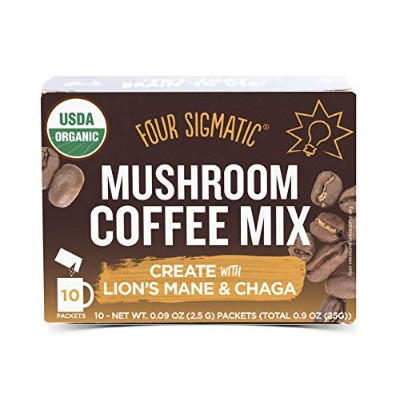 Four Sigma Foods - Mushroom Coffee - Lion`s Mane & Chaga - 10 Sachets by Four Sigma Foods