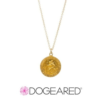 Dogeared ドギャード【MG1988】saint christopher coin charm necklace セントクリストファー コイン チャーム ネックレス gold dipped...