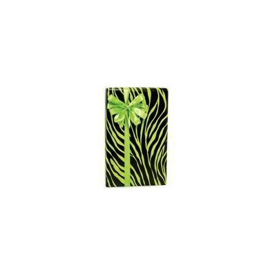 LIME GREEN & BLACK ZEBRA Animal Print Gift Wrap Wrapping Paper 16 Foot Roll by Buttons Bags and Bows