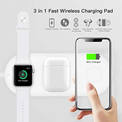Funxim 3in1 Premium Leather Wireless Fast Charging Pad for Apple Watch Series 1/2/3/4 and iPhone XR...