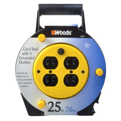 Woods 4907 25-Foot Extension Cord Reel with 4-Outlets and 12-Amp Circuit Breaker by Woods [並行輸入品]