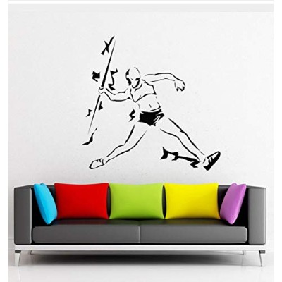 Mingld 43X42Cm Athletics Javelin Throwing Sport Vinyl Wall Decal Art Stickers Competition Athlete...