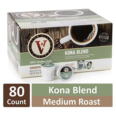 Victor Allen Coffee, Kona Blend Single Serve K-cup, 80 Count (Compatible with 2.0 Keurig Brewers)...