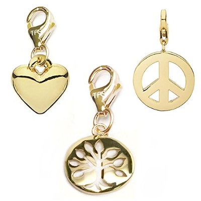 TFSジュエリーツリーの生活、ハート、Peace Sign 14 K Gold over真鍮クリップオンチャームセット