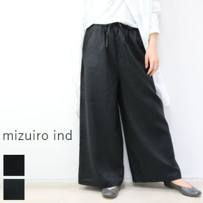 ★★40%OFF★★ mizuiro ind (ミズイロインド)mizuiro-ind.linen tucked easy PT with belt 2colormade in japan1...