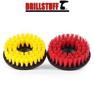 2pc Scrub Brush Upholstery Car Carpet Mat 13cm Round with Power Drill Attachment